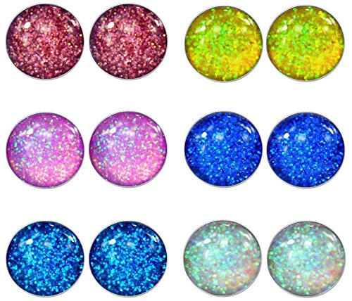 LilMents 6 Pairs of Glitter Sparkle Stainless Steel Stud Earrings (Red Yellow Pink Blues White)