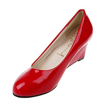 cdc1a8e1eb SODIAL New Women Wedges Shoes Pointed Toe Patent Leather Nude Work Shoes  Casual Women Pumps red