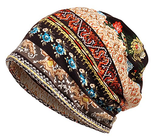 Qunson 2 Pack Women's Printed Baggy Slouchy Beanie Chemo Hat Cap by Qunson (Image #3)
