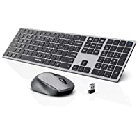 Wireless Keyboard and Mouse Combo, WisFox 2.4G Full-Size Slim Thin Wireless Keyboard Mouse for Windows, Computer, Desktop, PC, Laptop Mac (Silver and Gray)