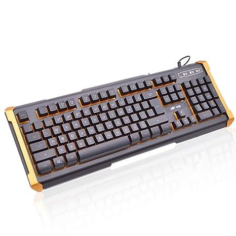 Teclado Backlight Gaming Teclado mecánico con Cable, con Paneles de Metal y diseño Resistente al