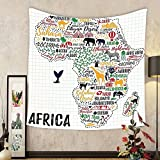 Gzhihine Custom tapestry Quote Tapestry Colorful Lettering of African Countries in Africa Continent with Animals Art Print for Bedroom Living Room Dorm Multicolor