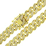 .925 Sterling Silver 14mm CZ Iced Out Miami Cuban Curb Link Bling Chain Necklace Yellow Gold Plated (28)