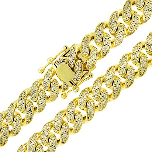 .925 Sterling Silver 14mm CZ Iced Out Miami Cuban Curb Link Bling Chain Necklace Yellow Gold Plated (28) by In Style Designz