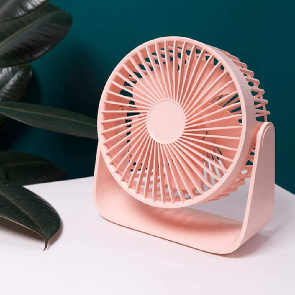 Office Desktop Mini Desk Fan, USB Creative Charging Fan Portable Student Dormitory Desktop Gift 360/°Rotation Free Adjustment Personal Fan for Home Evening Cherry Powder Outdoor Camping
