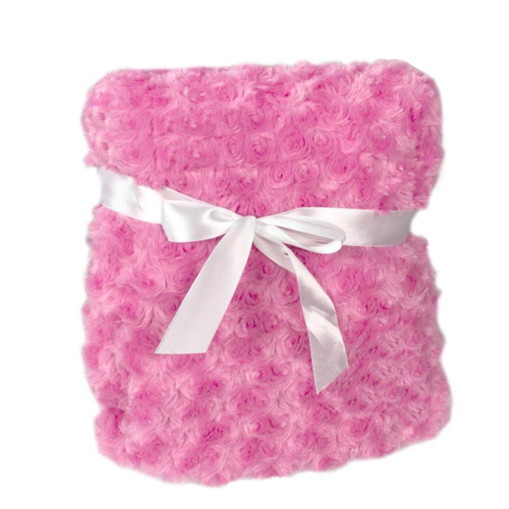Tracfy Soft Rose Carving Baby Blanket Polyester Fleece Bed Swaddling and Stroller Blanket for Unisex Babies Infants Kids