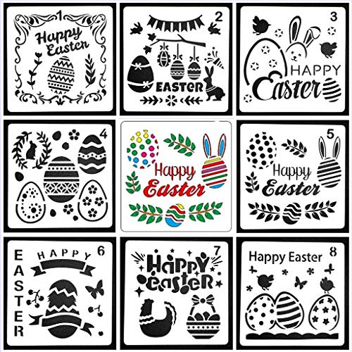 KOBWA Easter Drawing Painting Stencils Scale Template Sets, 8 Pcs Different Easter Decorations Stencils Egg Rabbit Stencil for Painting on Wood, Craft Cards Making, Home Decor