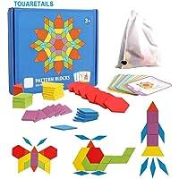 TOUARETAILS 155 Pcs Wooden Pattern Blocks Set Geometric Shape Puzzle Manipulative Shape Puzzle Graphical Early Educational Montessori Tangram Brain Teasers STEM for Kids with 24 Pcs Design Cards