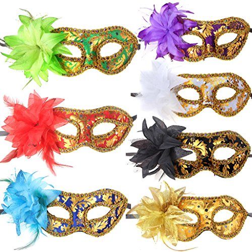 10pcs Set Half Venetian Masquerade Ball Masks Costume Party Accessory - Feather Half Masks