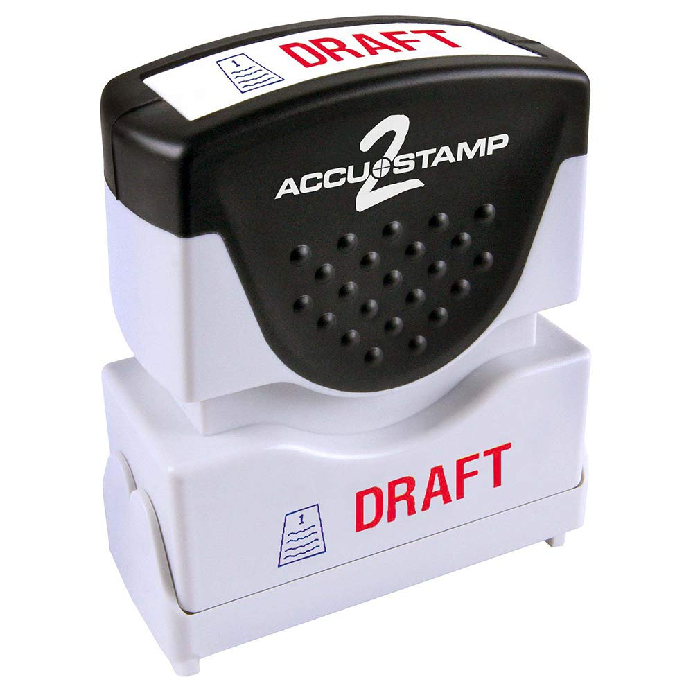 ACCU-STAMP2 Message Stamp with Shutter, 2-Color, DRAFT, 1-5/8'' x 1/2'' Impression, Pre-Ink, Red and Blue Ink (035542)