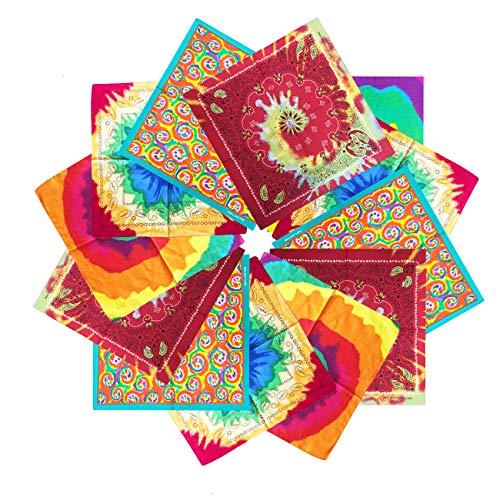 Rainbow Bandana, Paisley Bandana In Rainbow Colors, Bright Rainbow Flag Bandana, One Dozen Colorful Bandanas 12 -