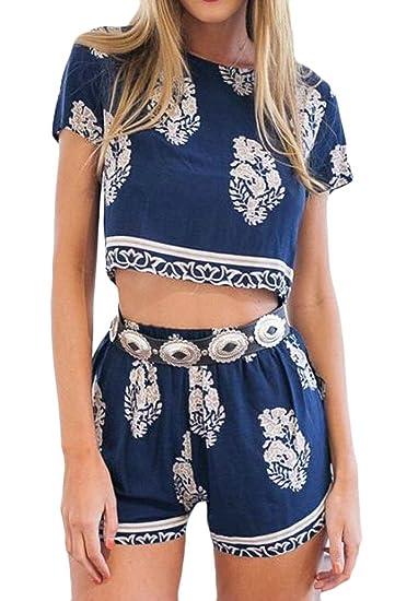 749747a54f Amazon.com: Jotebriyo Women Print Summer Beach Clubwear 2 Piece Outfits  Clubwear Short Jumpsuit Romper: Clothing