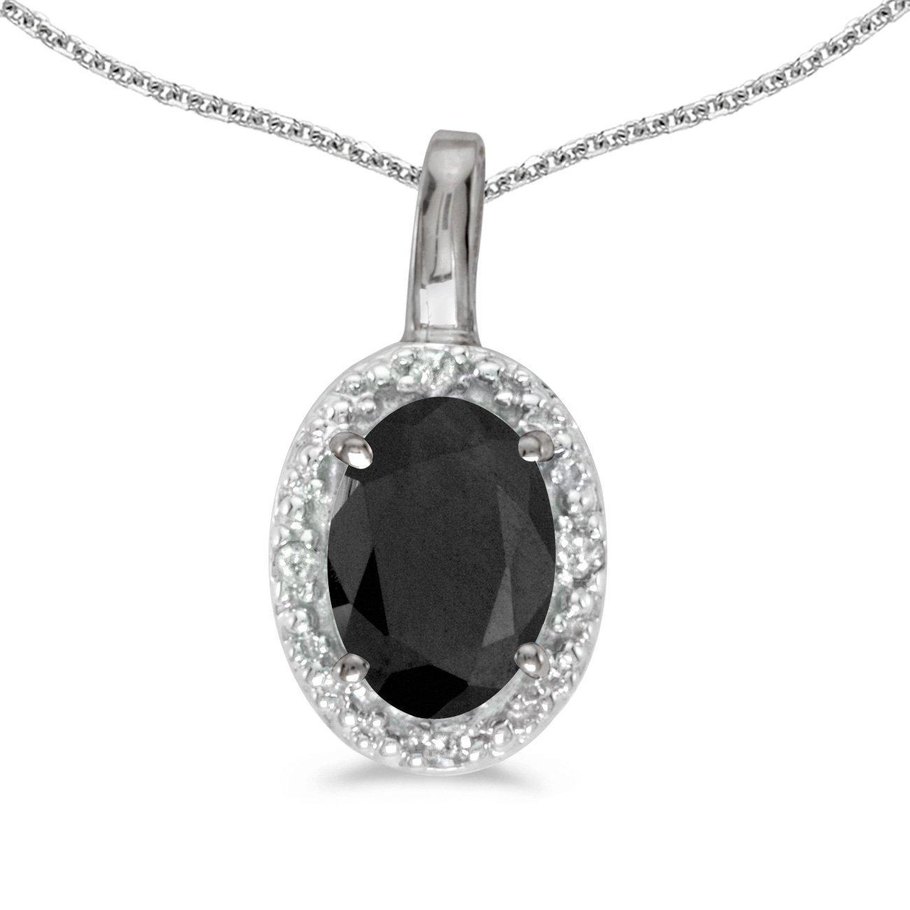 1//3 Cttw. FB Jewels Solid 10k White Gold Genuine Birthstone Oval Gemstone And Diamond Pendant