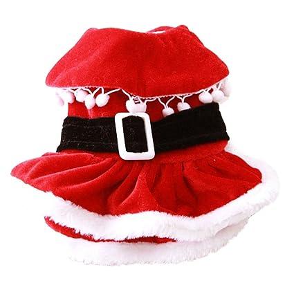 2017 new small dog christmas dress cat soft santa clothes christmas dress autumn and winter