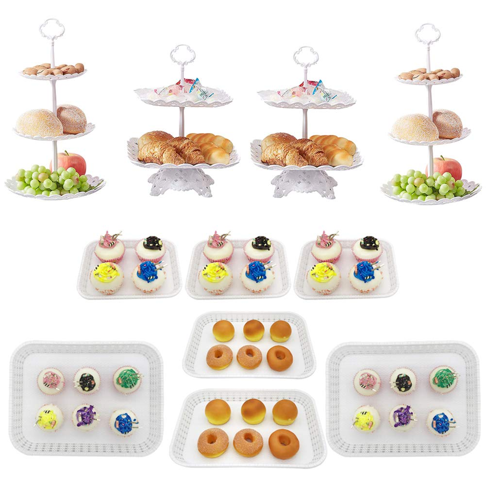 Dessert Stand Set of 11 Pieces Includes 3 Tier 2 Tiers Square/Round Cupcake Holder Rectangular Plate Tray for Wedding Birthday Party Fruits Desserts Candy Bar Display White