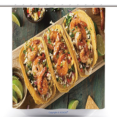 [Waterproof Shower Curtains Homemade Spicy Shrimp Tacos With Coleslaw And Salsa 442299640 Polyester Bathroom Shower Curtain Set With Hooks] (Traditional Salsa Costumes)