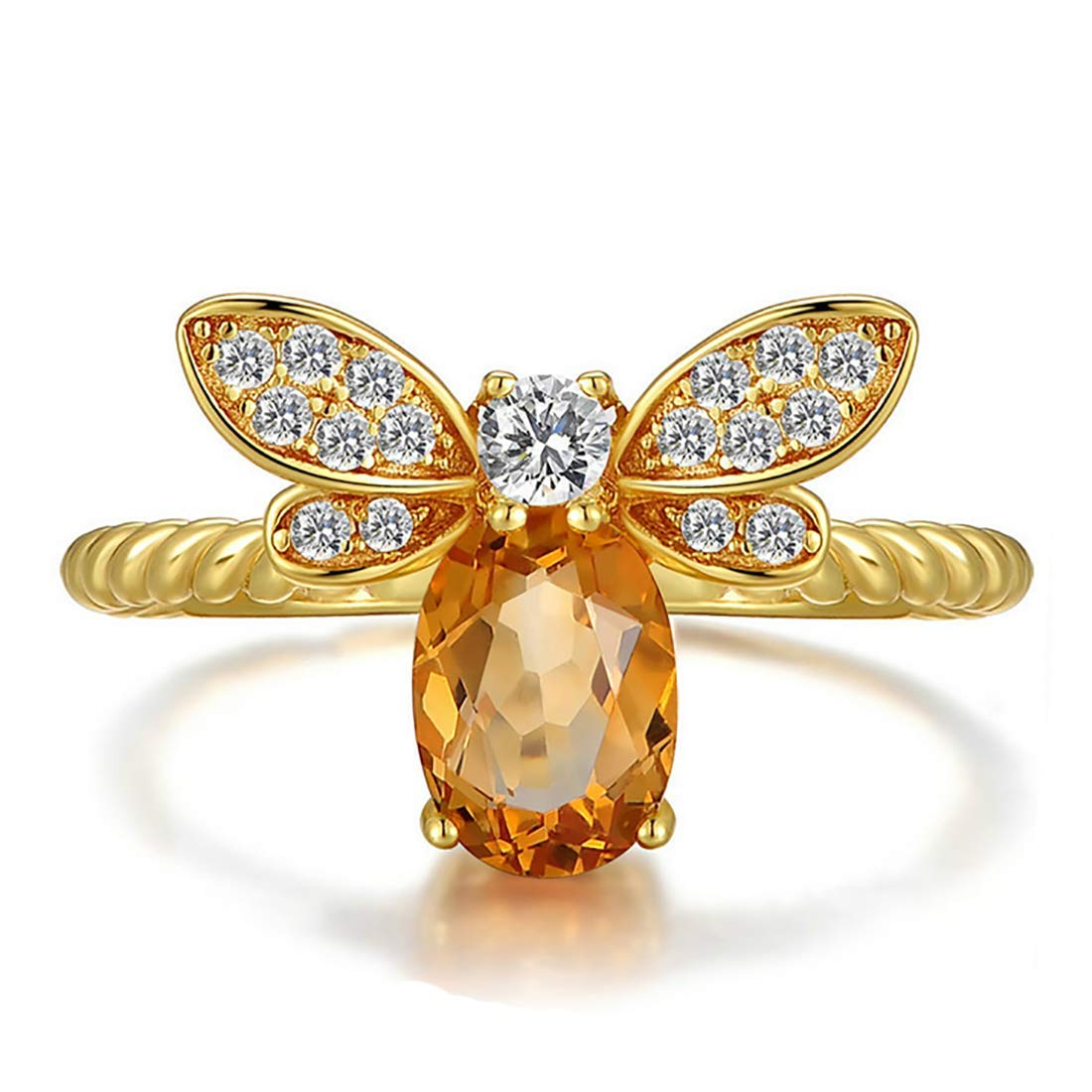 KWUNCCI Honey Bee Rings 14K Gold Plated Eternity Statement Engagement Band Rings with Natural Yellow Crystal Adjustable for Girls Women