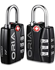 ORIA Luggage Lock, Travel Lock, TSA Approved Luggage Locks, Travel Combination Lock, Padlock with Alert for Suitcases, Baggage, Backpacks, Small Cabinets, Briefcases, Computer Bags (Black, 2 Pack)