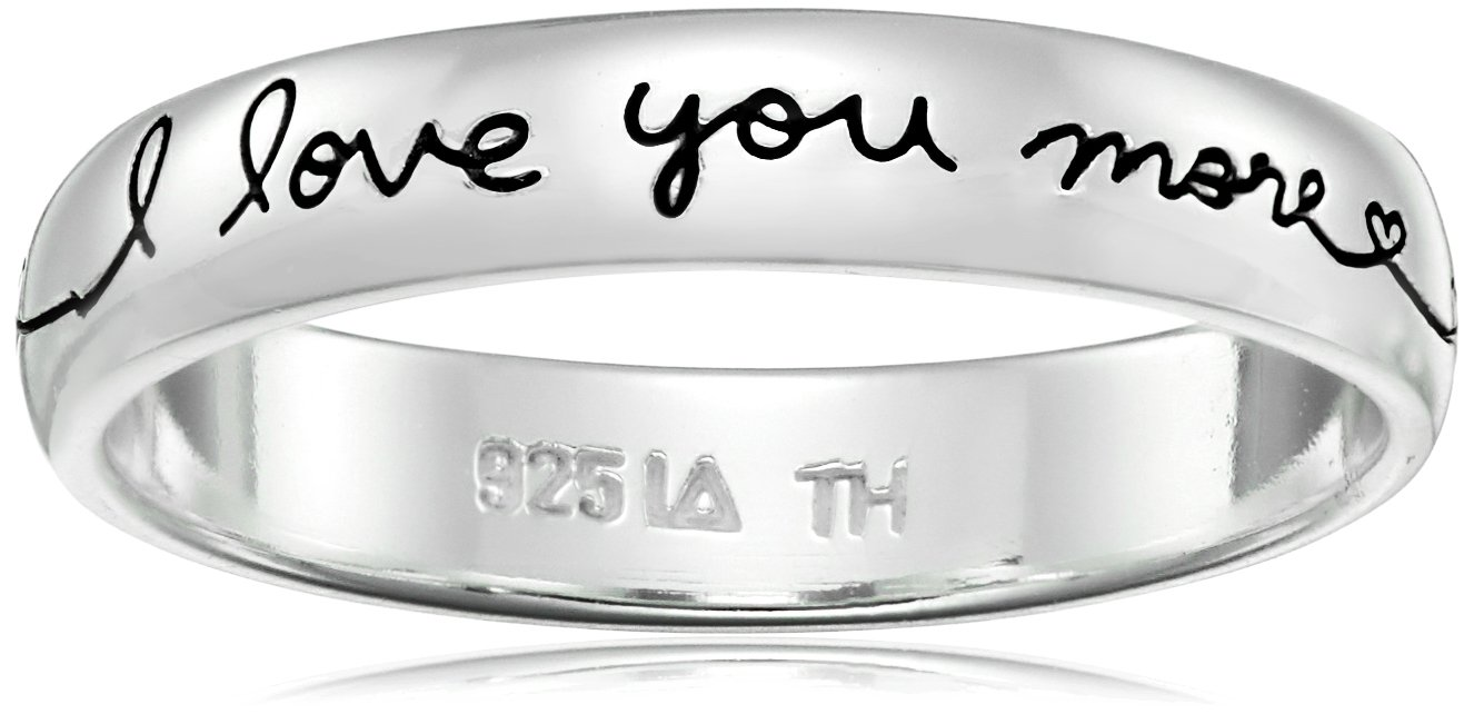 Sterling Silver Band I Love You More Ring, Size 6