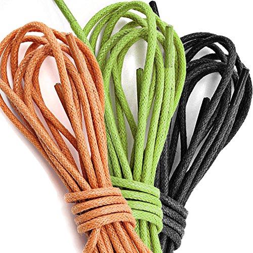 3 Paia Pack Dailyshoes Cerate Rotonde Lacci Delle Scarpe Sottili Per Le Scarpe Da Trekking Dress Oxford Nero, Verde Lime, Arancione (3 Paia)