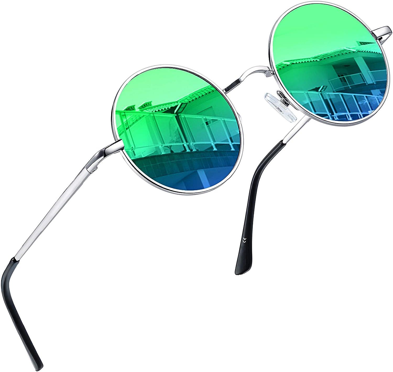 Joopin Redondas Gafas de Sol Hombre y Mujer Polarizadas Retro Vintage John Lennon Círculo Metálico Hippie Steampunk UV400