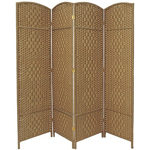 Rose Home Fashion RHF 6 ft. Tall-Extra Wide-Diamond Weave Fiber Room Divider - Natural - 4 Panel