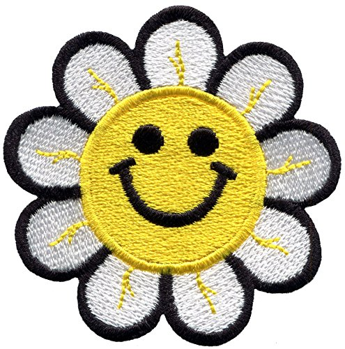 Smiley face daisy flower power embroidered applique iron-on patch S-1482