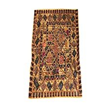 Mogul Vintage Sari Tapestry Embroidered Patchwork Brown Wall Hanging Ethnic Home Décor 90x80