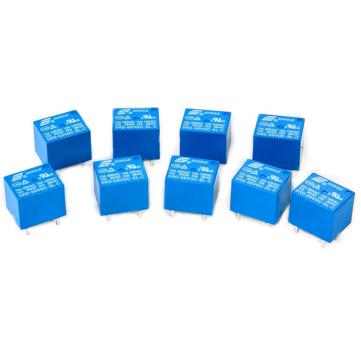 SONGLE relé Electromagnético de Alimentación SPDT 12V 10A Montaje - Pin para PCB, 10 Unidades, Control Aplicaciones Electrodomésticos BI084 Control Aplicaciones Electrodomésticos BI084