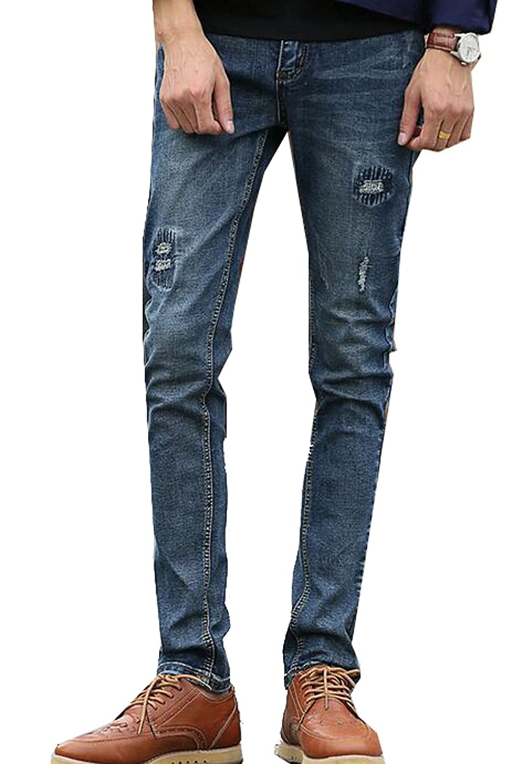 ASL Mens Washed Ripped Frayed Denim Slim Fit Straight-Leg Jeans