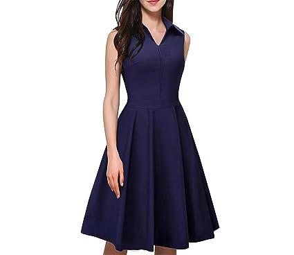 34b858962fb 1950 s Vintage Elegant Zipper Turn-Down Collar Work Dress Women Sleeveless  A-Line Pinup