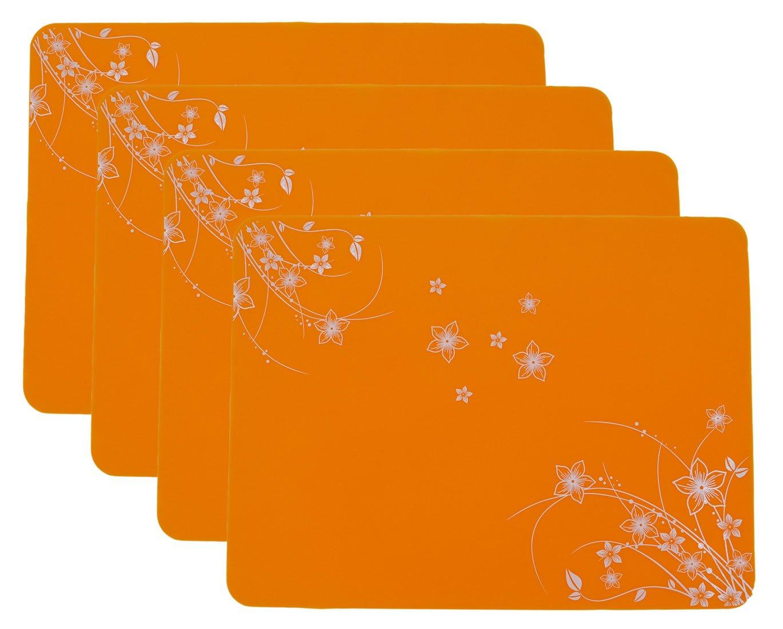 15.7''x11.8'' New Silicone Decorative pattern Placemats, Flexible Non-Slip Silicone, Set of 4 (Orange)