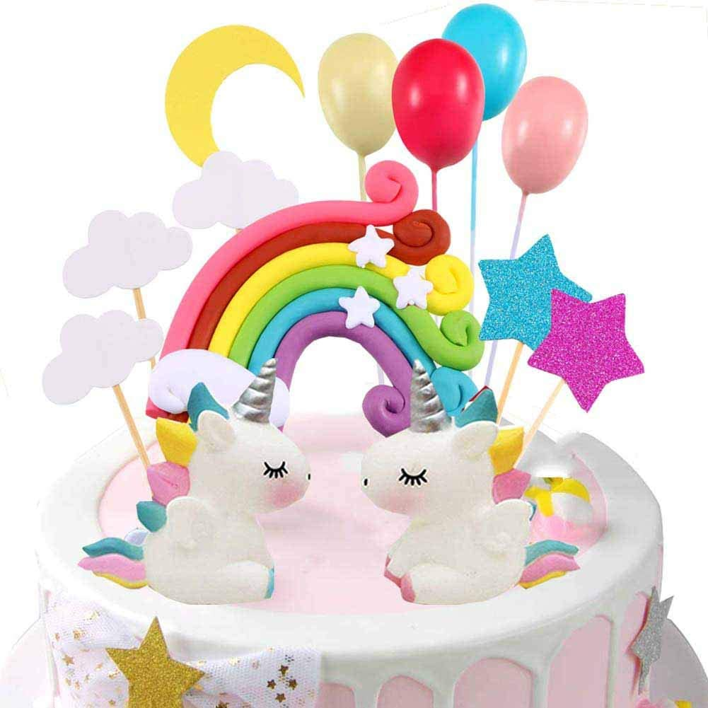 Miss Good Unicorn Cake Topper Cloud Rainbow Star Balloon Cake Topper Decoraciones de Pasteles Comestibles Stand Up Wafer para cumpleaños Boda Baby Shower Party Pack de 15