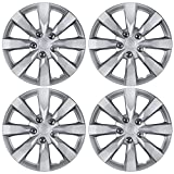 "BDK KT-1042-16 Silver Hubcaps Wheel Covers for Toyota Corolla 16"" - Four (4) Pieces Corrosion-Free & Sturdy - Full Heat & Impact Resistant Grade - Replacement, 4 Pack"