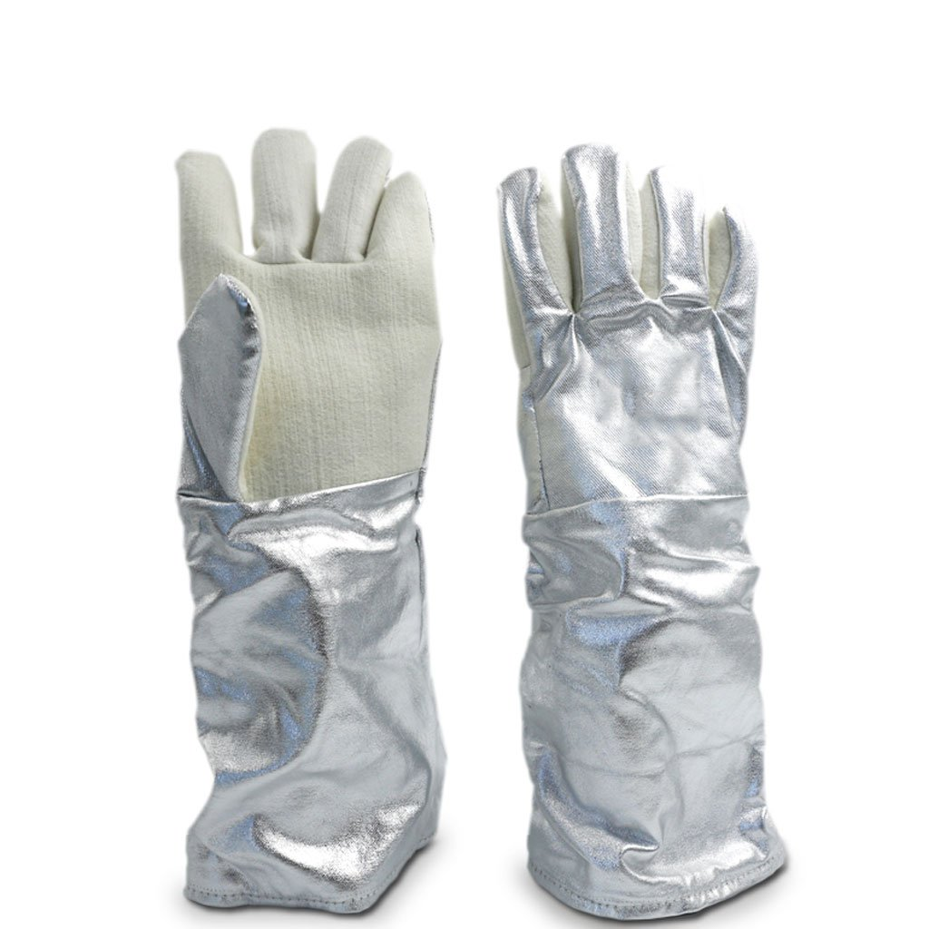 MOOLO 300-400 Degrees Anti-hot Gloves Five Fingers Thicken High Temperature Resistance Aluminum Foil Gloves (Size : 45cm)