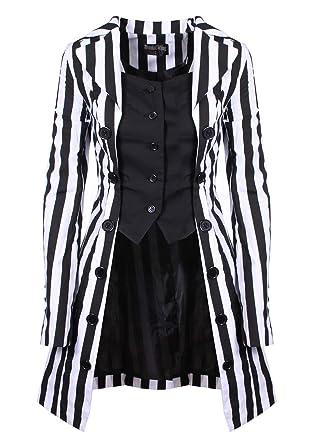 0dc3c8cde Veste Trendy rayée Noire et Blanche, nugoth Gothique ou Pirate ...