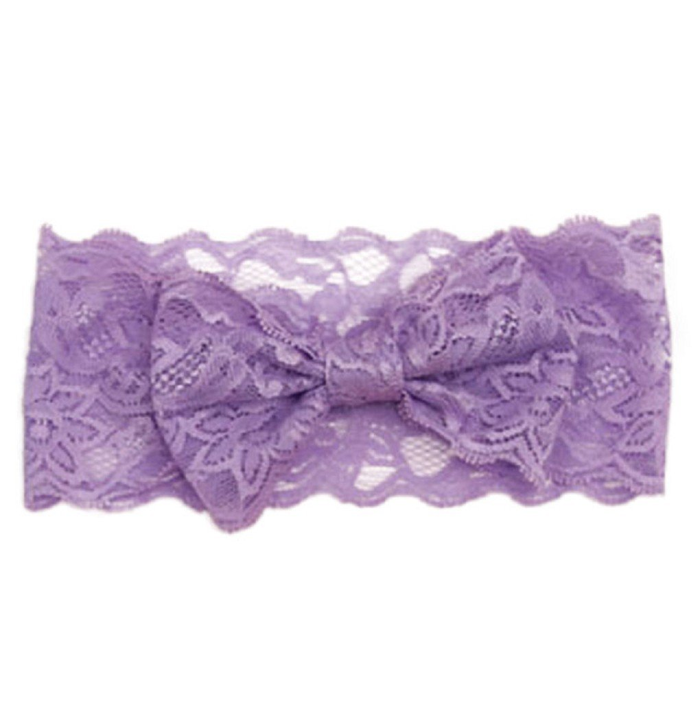 Vovotrade Fashion Lace Big Bow Hair Band; Baby Head Band Accessories (Purple)