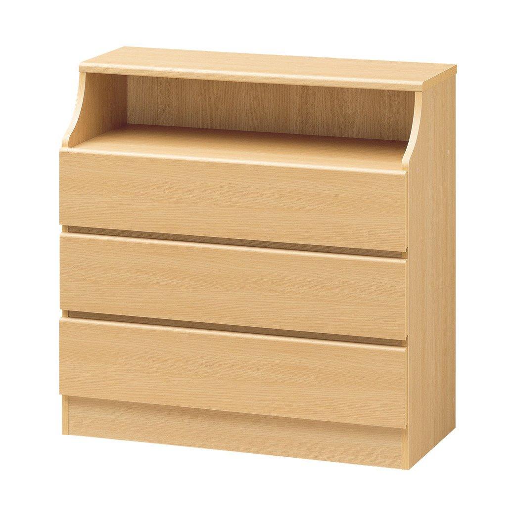 収納家具 インテリア家具 キャビネット オープン 部分 は 背板 に 配線穴 がついてます 平均組み立て時間が1/2に大幅減 簡単組立 CHESCA チェスト 高さ909mm ナチュラル B00UBNKN44