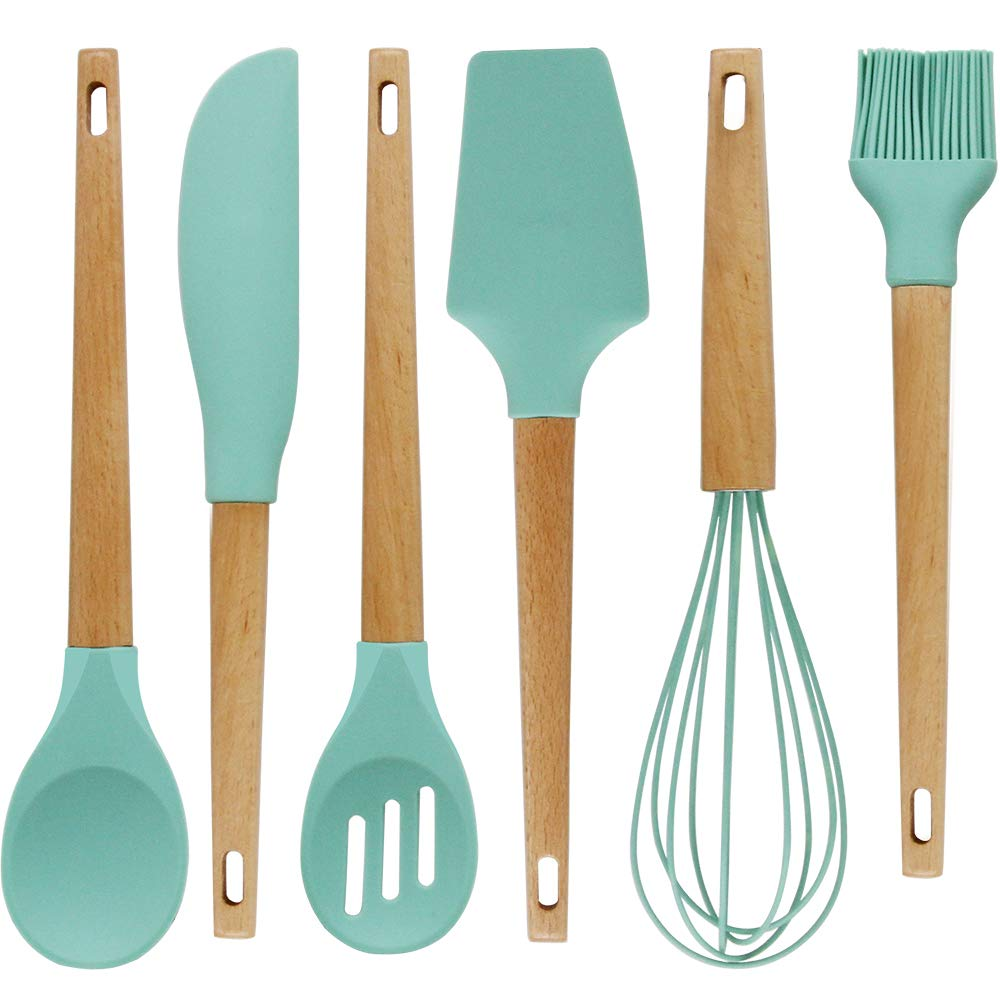 Baking Utensils Set,Silicone Baking Tool Supplies kitchen Gadgets Set of 6, Wood Handle Balloon Whisk,Slotted Spoon,Solid Spoon,Spatula,Long Scraper and Pastry Brush