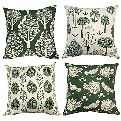Abizoe Bird Green Leaves Throw Pillow Cover Decorative Cotton Linen Burlap Square Outdoor Cushion Cover Pillow Case for Car Sofa Bed Couch,4-Set,18 x 18 inch (Style-2) (Set Green Sofa)