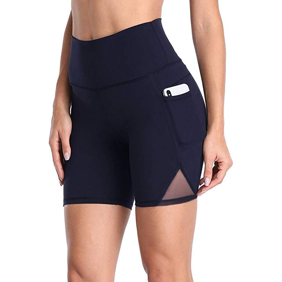 DILANNI Yoga Shorts for Women High Waist Pockets Yoga Bike Workout Shorts(Navy Blue XS)