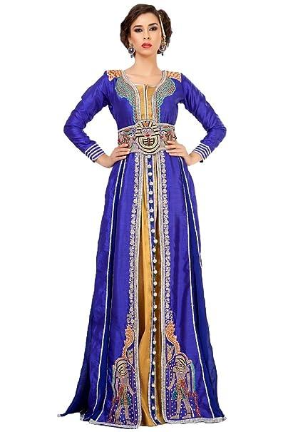 PalasFashion marroquí boda vestido caftan mujeres de KKPF1038 Azul azul 34