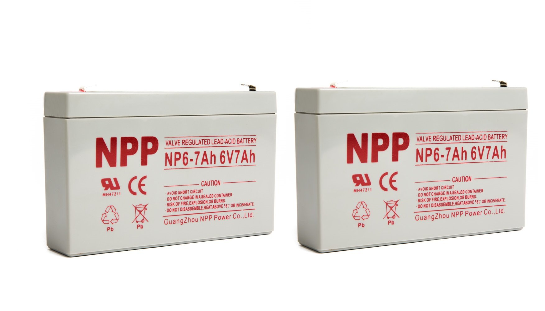 NPPower NP6-7Ah 6 Volt 7Ah SLA Sealed Lead Acid Battery With F1 Style Terminals/(2pcs)