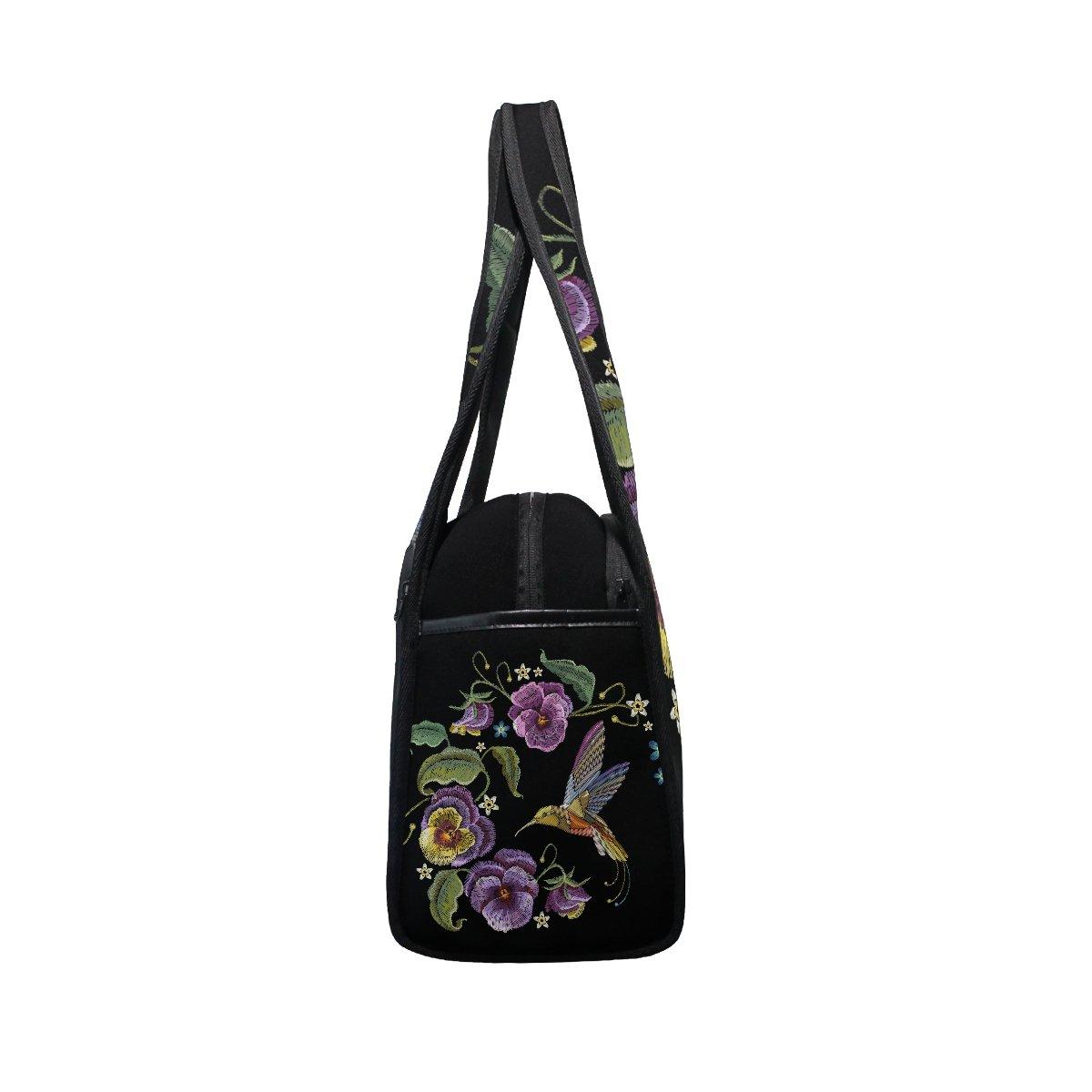 AHOMY Sports Gym Bag Flower Leaf Hummingbirds Embroidery Duffel Bag Travel Shoulder Bag