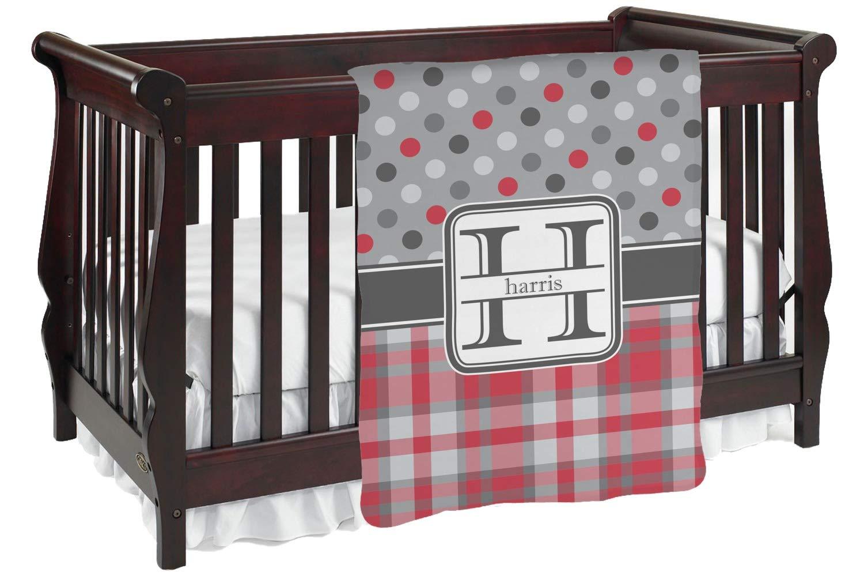 レッド&グレードットand Plaid Baby Blanket (Personalized) Baby Blanket レッド mi-baby-blanket-fb+193551 両面  B01KIOQ1U0
