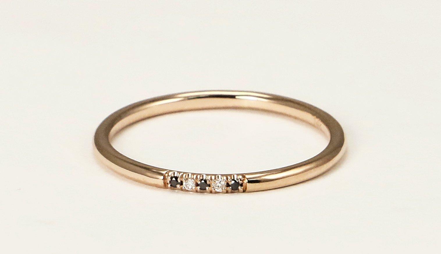 14k Rose Gold Black and White Diamond Wedding Band, Diamond Stacking Ring