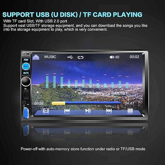 BEENZY Estéreo Bluetooth para automóvil, Reproductor Universal 4 DIN HD MP5 de 7 Pulgadas, Radio Multimedia Entretenimiento con USB/TF FM Entrada Auxiliar ...