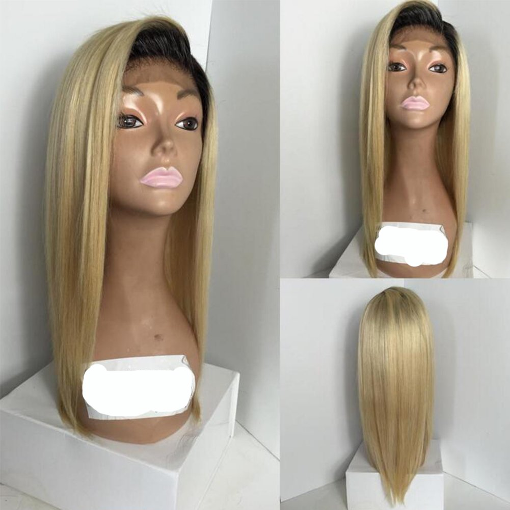 Lace Front Wigs Straight Ombre Blonde Human Hair Wig with Baby Hair for Black Women (14inch, 130% density lace front wig)
