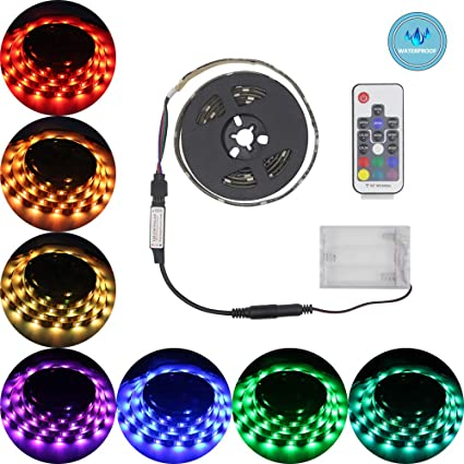 Led Strip Lights Battery Poweredabtong RGB Led Strip Rope Lights Waterproof Led Lights with  sc 1 st  Amazon.com & Amazon.com: Led Strip Lights Battery Poweredabtong RGB Led Strip ...