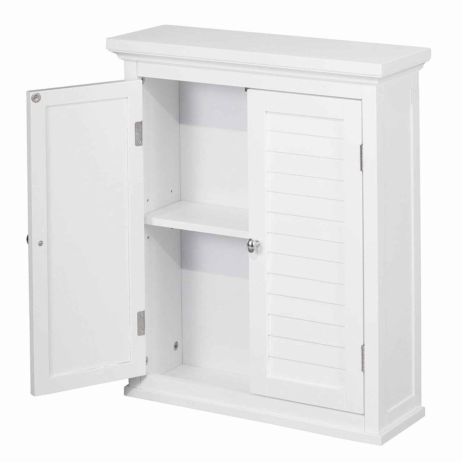 White Wood Bathroom Cabinets With Shutter Doors and Adjustable Shelving Includes Custom Mouse Pad